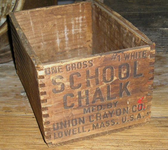Vintage Wooden School Chalk Box Primitives In 2019 Wood Crates