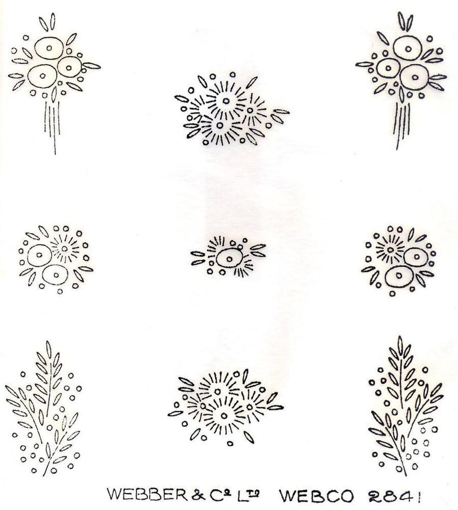 Us art deco flower sprig designs vintage ironon embroidery