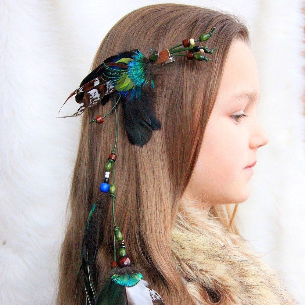 """Feather Hair Extension Green Feather Hair Clip """"Witch of Spring"""" Feather Hair Accessorie Feather Hair Clip Long Feather Hair Clip Shamanic by Nastasy on Etsy"""