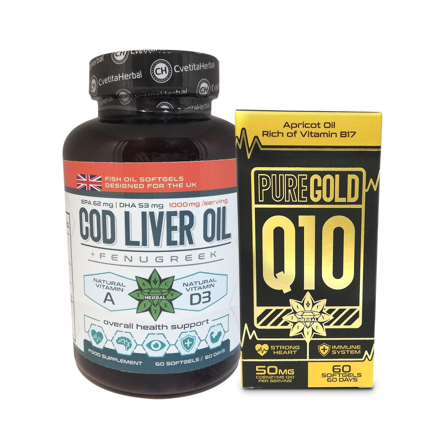 a9a3d754f3417 Coenzyme q10 60 softgels + Cod Liver Oil 60 softgels,Vitamin A and ...