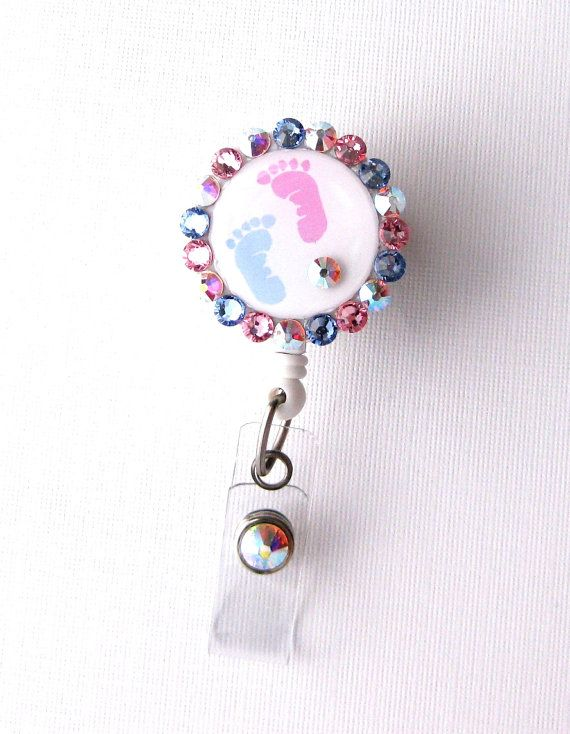 Baby Feet - Bling Badge Reel - NICU ID Holder - L&D Badge Clips - Nurse Gifts - Labor and Delivery Badge Pulls - RN Jewelry - BadgeBlooms