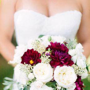 Red wedding dress white bouquet