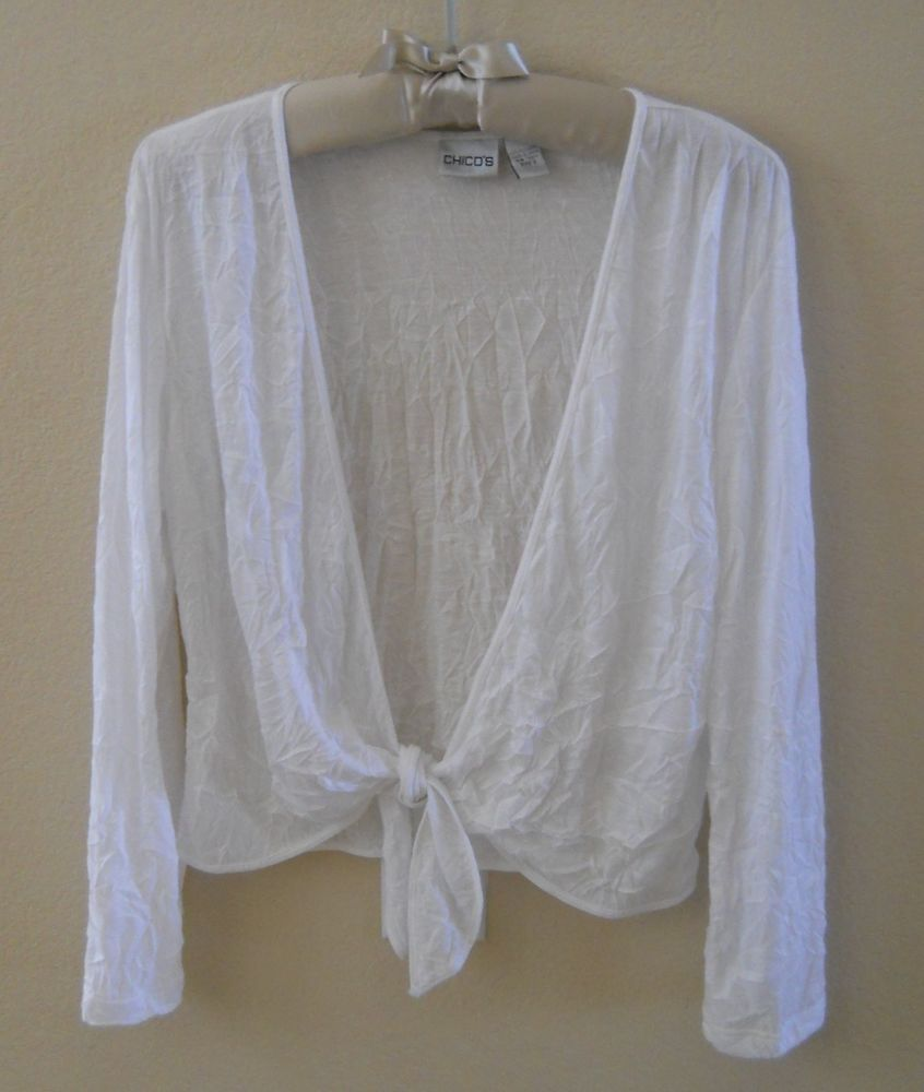 CHICO'S Size 2 White Sheer Over Sweater Preowned Crinkle Tie Front ...