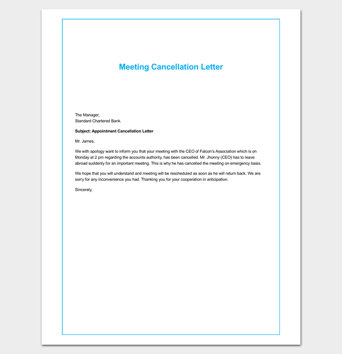 Meeting Cancellation Letter Format  Letter Templates  Write