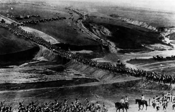 A long line of Russian troops marching westwards Original Publication From The Illustrated War News, Sept 1914.