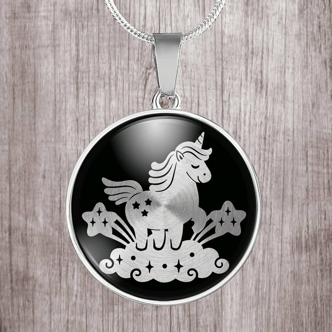Unicorn on silver brushed backing stainless steel necklace  #design #art #designtimegnc #gift #birthday #giftguide #gifts #gifting…