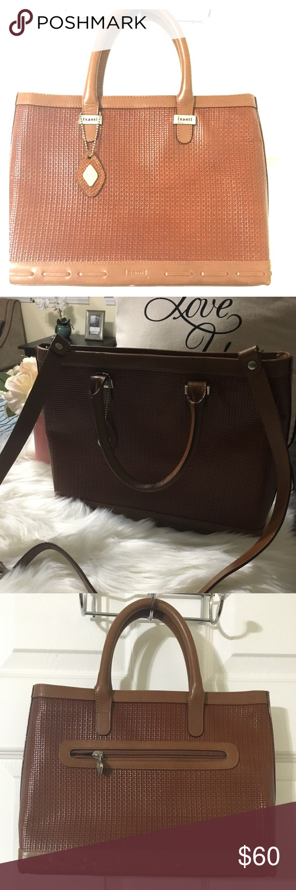 I Santi Italian Satchel Bag Beautiful Brown Genuine Leather Made In Italy Clean Inside And Outside Minimal Signs Of Wear