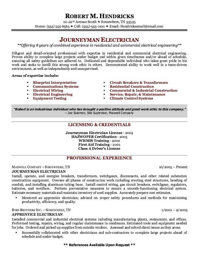 Electrical C License Resume Format  2Resume Format  Sample resume cover letter Sample resume