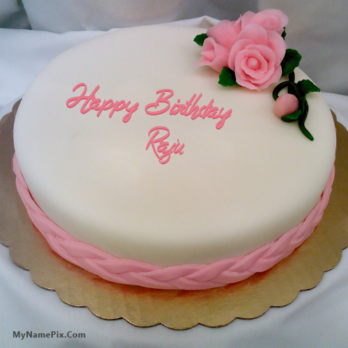 Pink Rose Happy Birthday Cake With Name Raju ñíŕàĺ Birthday