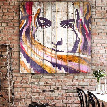 tableau deco bois palette pop art portrait femme peinture 371 371 graphique. Black Bedroom Furniture Sets. Home Design Ideas