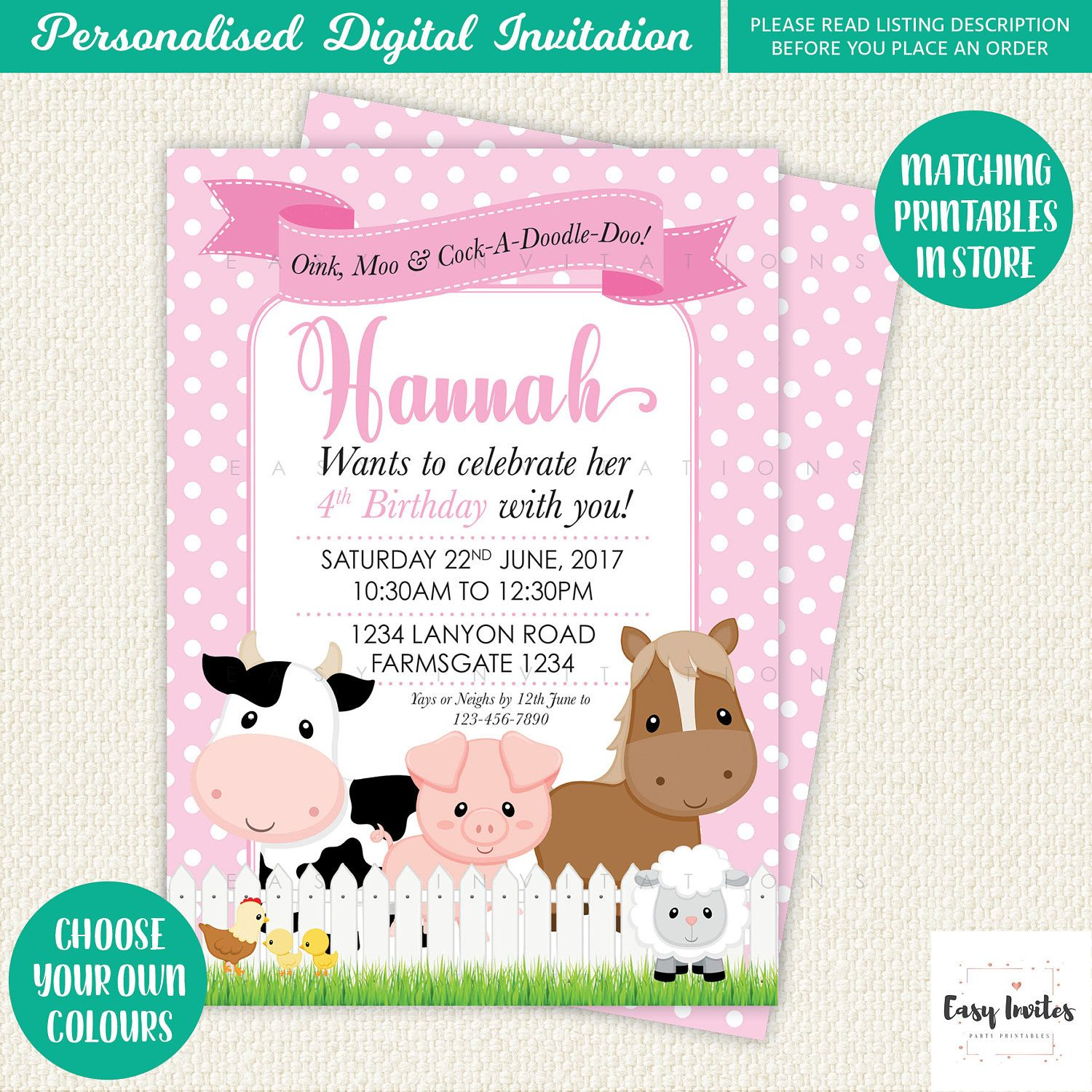 Farm Party invitation, Farm Party, Farm Birthday Invitation, farm birthday party, barnyard party