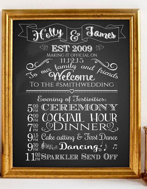 PRINTABLE Custom Wedding Program Sign Order Of By TheArtyApples