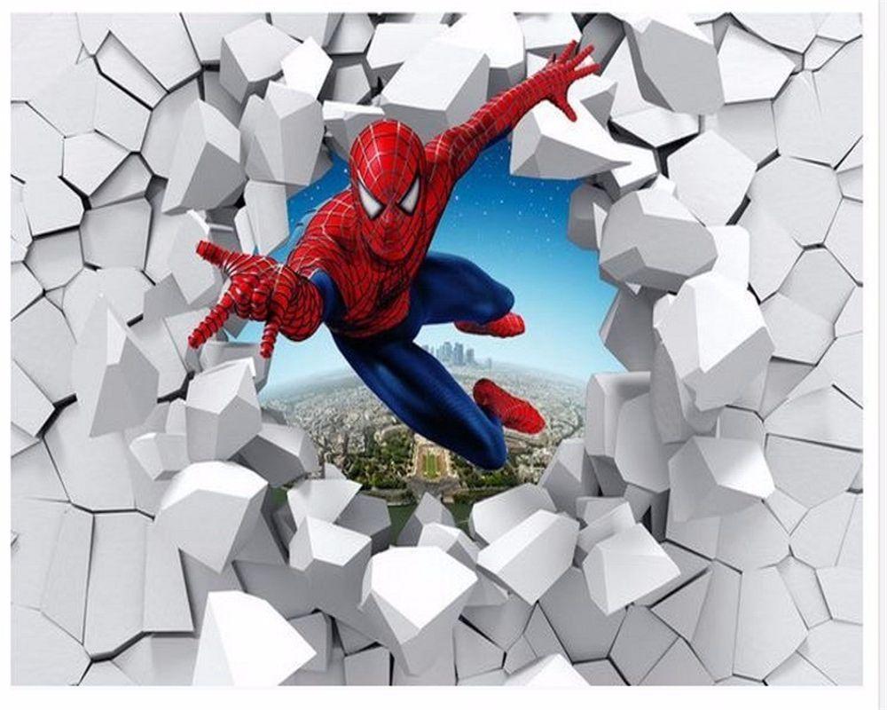 Beibehang Custom Photo 3d Stereo Wallpaper Spider Man Brick Living Room Tv Background High Quality Wallpaper Fo Wallpaper Modern Art Paintings Custom Wallpaper