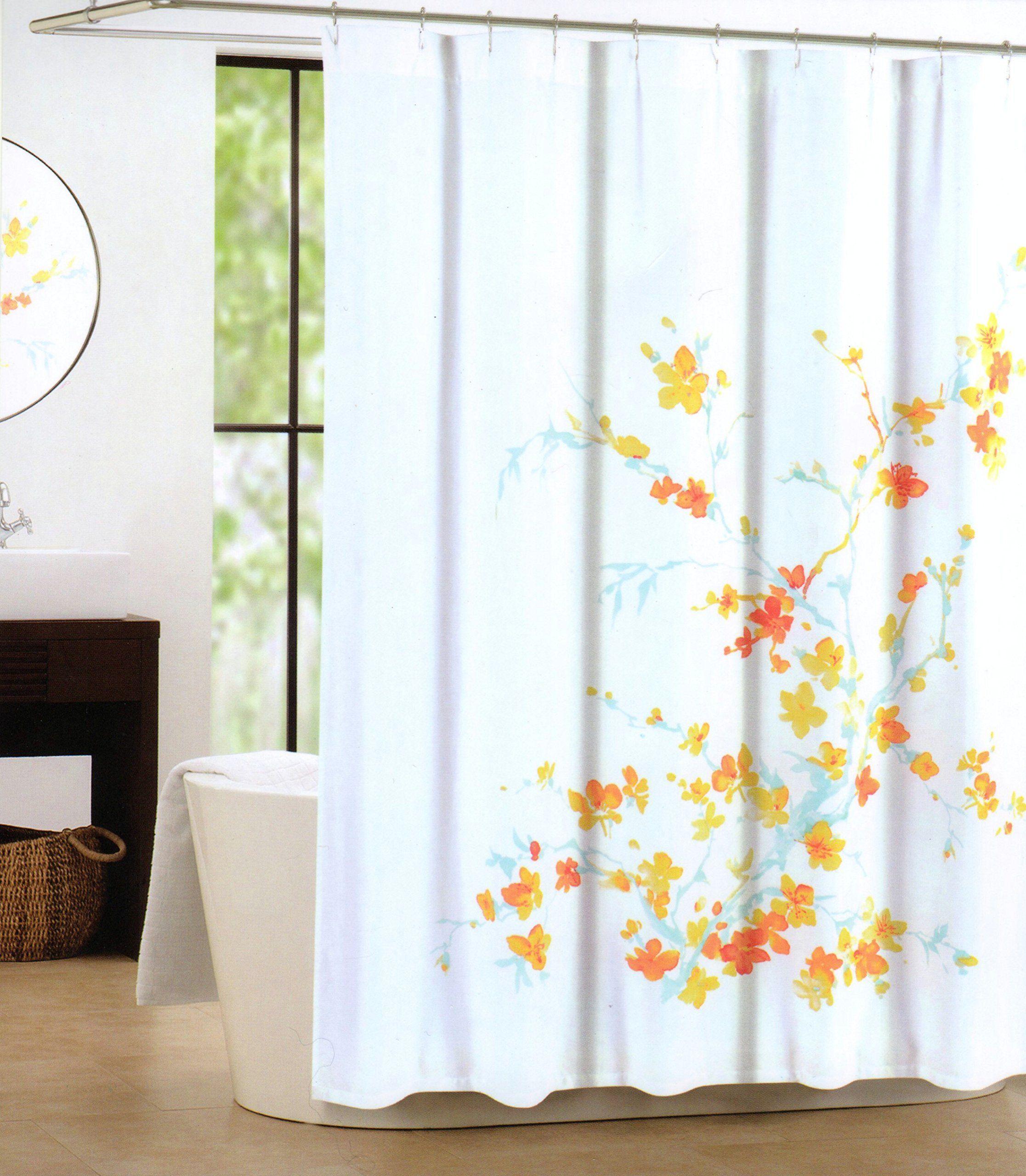 Amazon Com Tahari Luxury Cotton Blend Shower Curtain Printemps