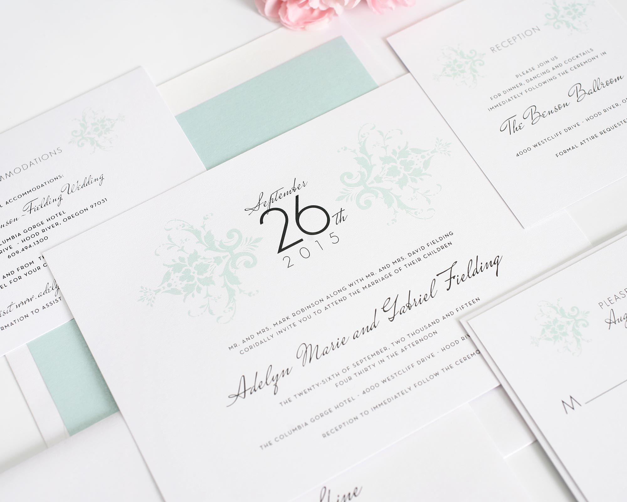Elegant Damask Wedding Invitations | Damasks, Elegant and Mint green ...