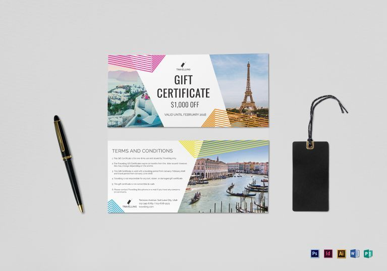 Travel Gift Certificate Template Certificate Design Templates