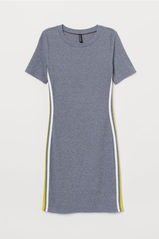Jerseykleid - Graumeliert/Gelb - Ladies | H&M DE | Kleider ...