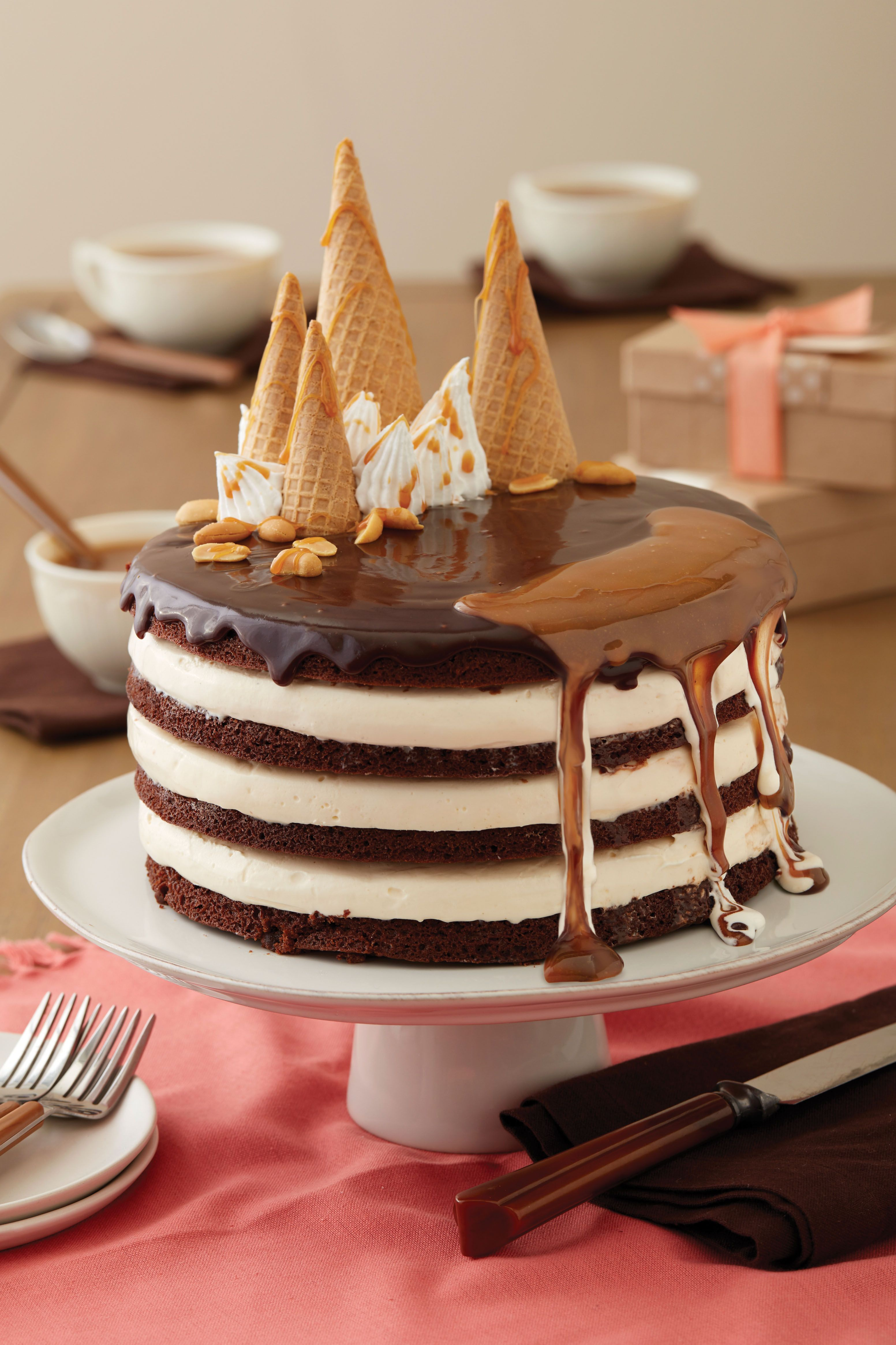 How to Make a Brownie Sundae Layered Cake delicious ice cream and