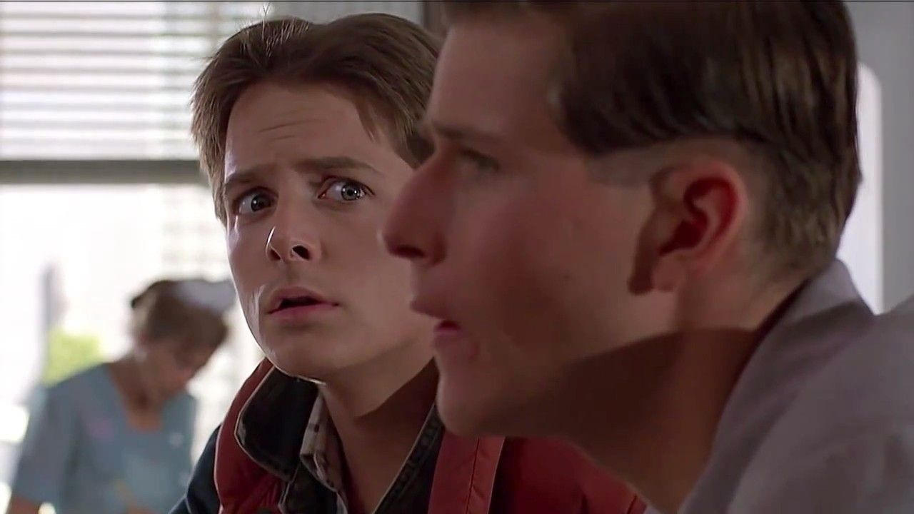 marty mcfly meets his dad george mcfly in 1955 marty mcfly back to the future marty mcfly. Black Bedroom Furniture Sets. Home Design Ideas