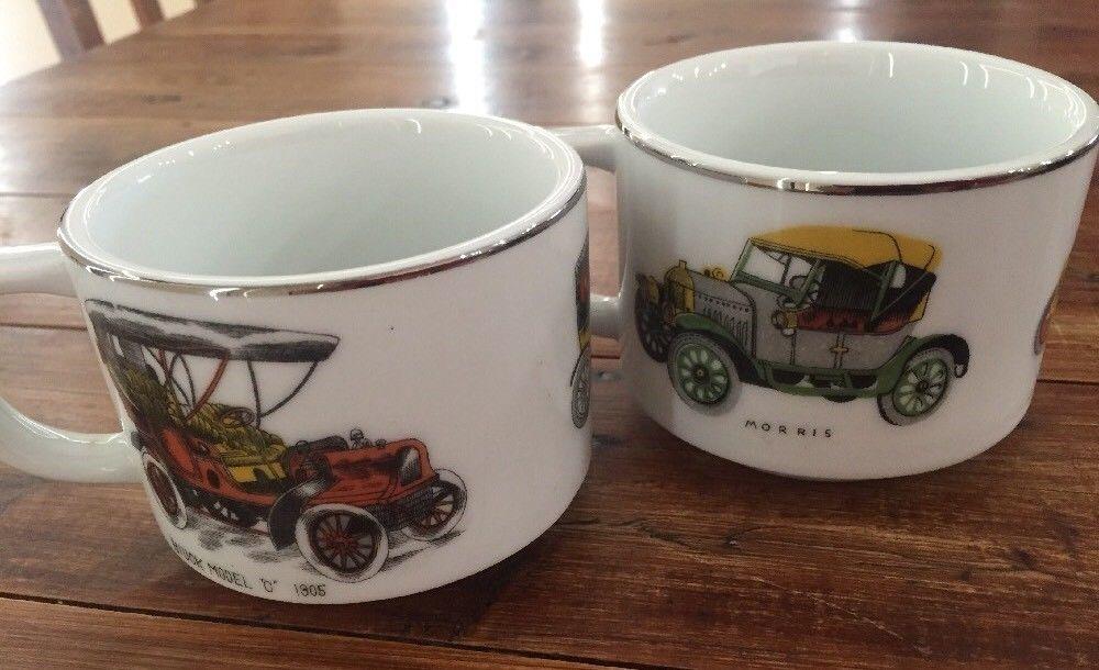 2 X Men's Coffee cups Tea Mugs Vintage Car Japan mancave