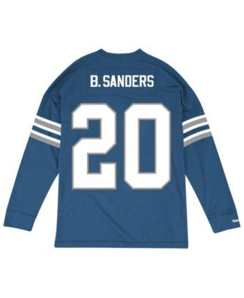 Top Men's Barry Sanders Detroit Lions Retro Player Name & Numer