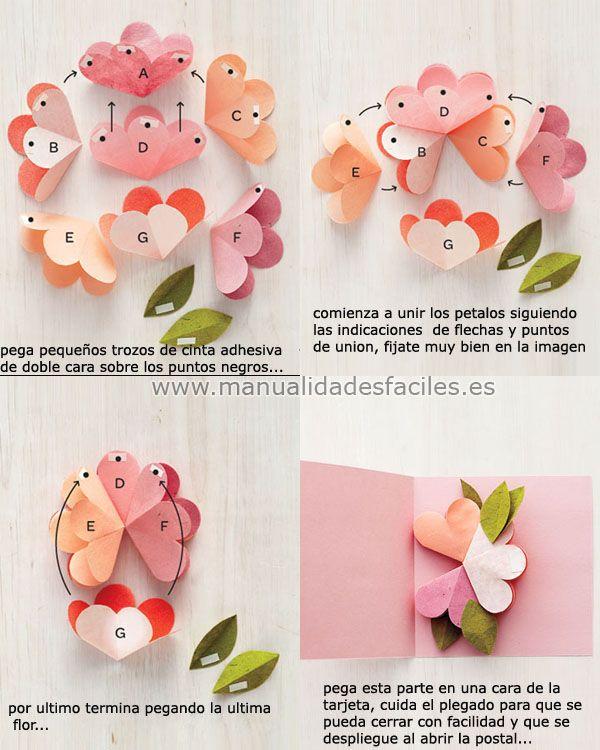 Tarjeta pop up para el dia de la madre manualidades - Manualidades decorativas para el hogar ...