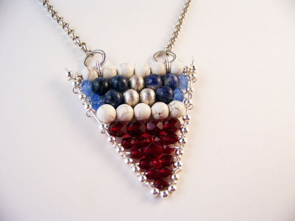 Nautical Flag Necklace Red White Blue Gemstones Little Anchor Charm by MeyerClarkCreative on Etsy