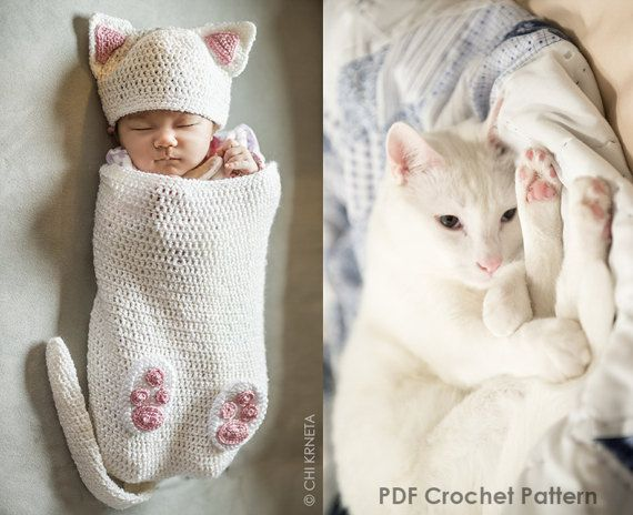 Baby Cat Cocoon Hat & Booties Crochet Pattern #crochetpatterns