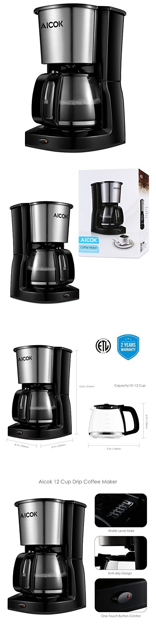 Aicok Coffee Maker 12 Cup Thermal Coffee Machine with