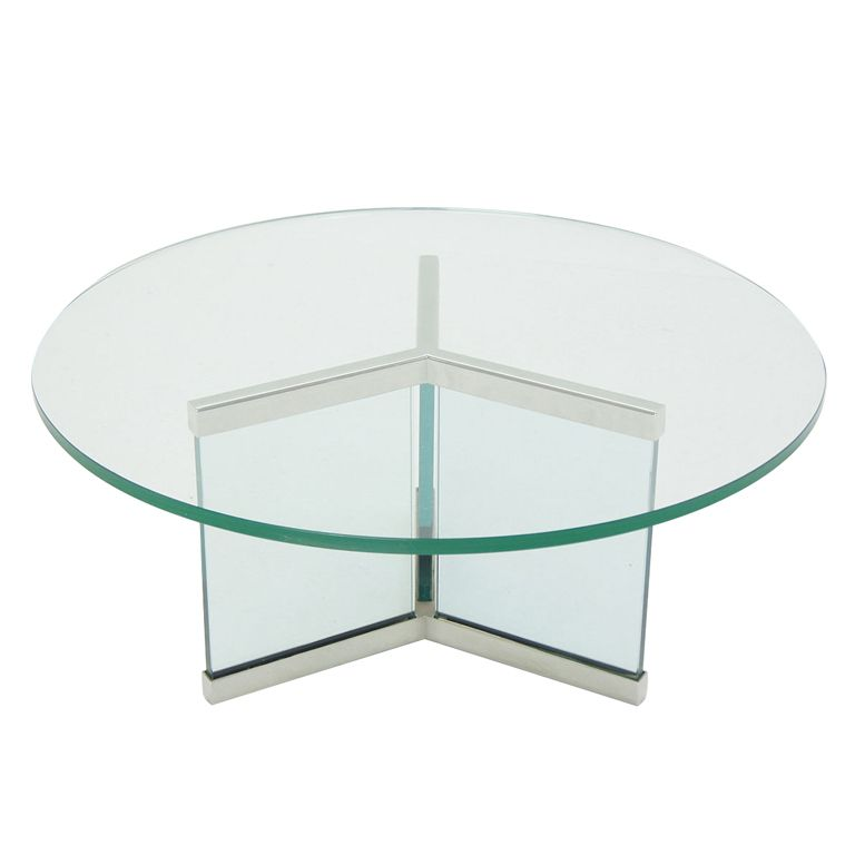 Pace Collection Round Glass Chrome Modern Coffee Table 1800