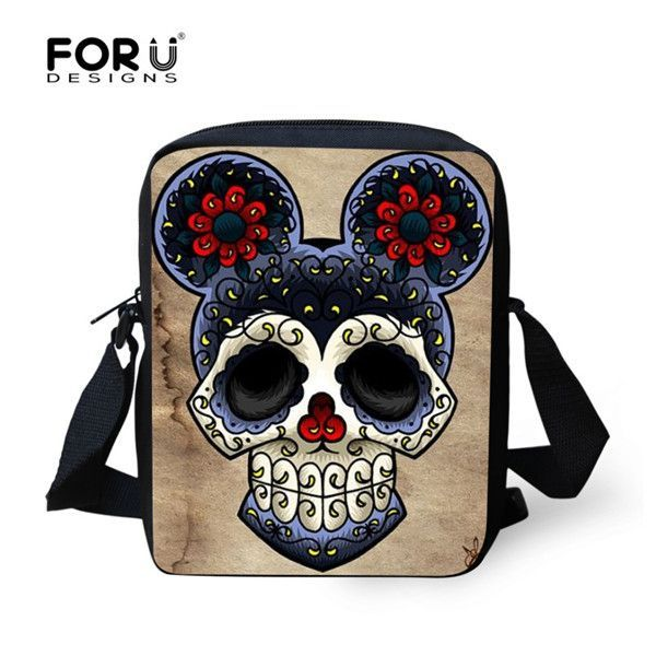 2016 Vintage bag cool skull men messenger bags graffiti men's travel bag crossbody bags for boys casual boy small handbags
