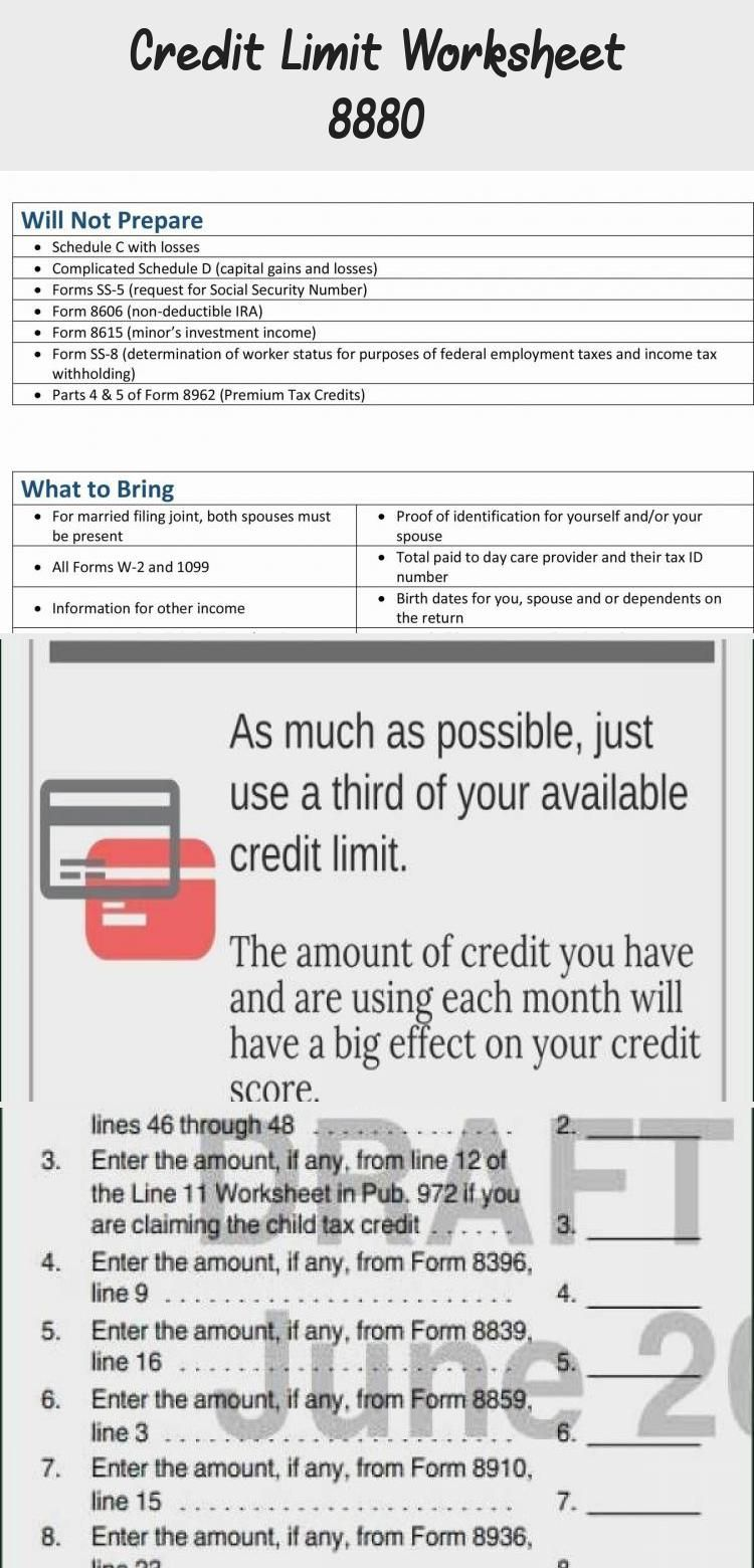 Credit Limit Worksheet 8880 In 2020 Credit Score Good Credit