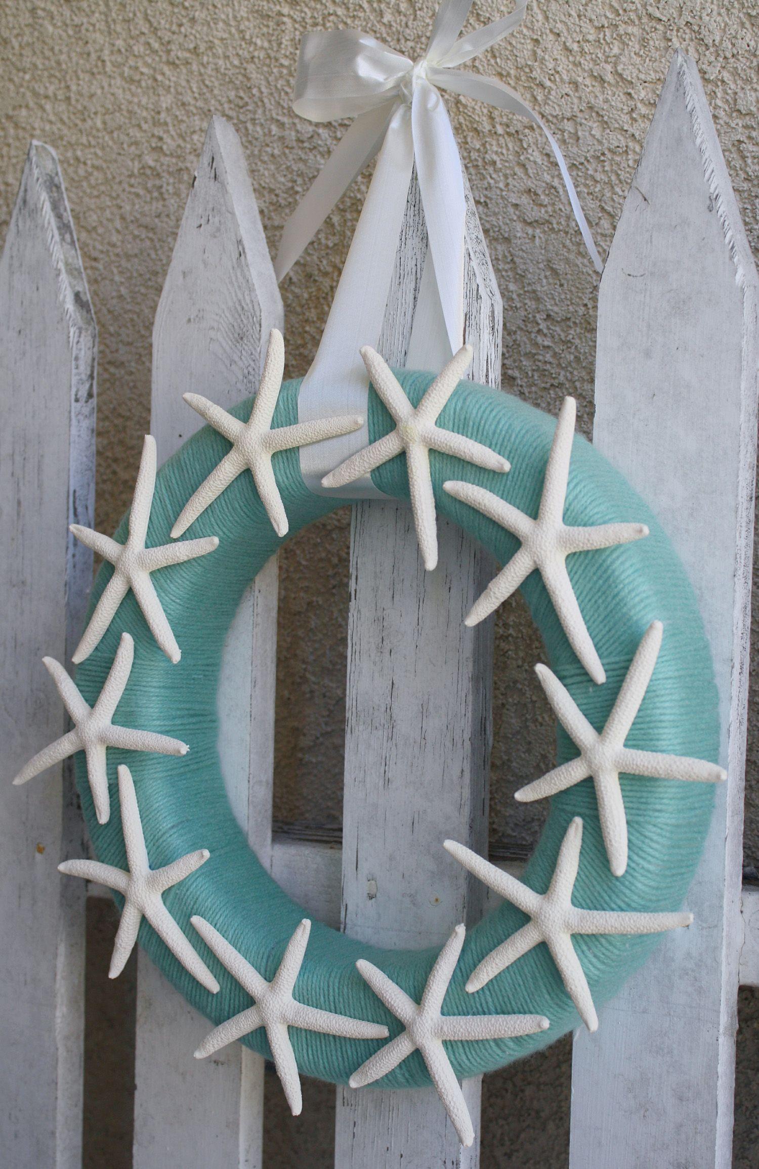 Summer Starfish Yarn Wreath 9