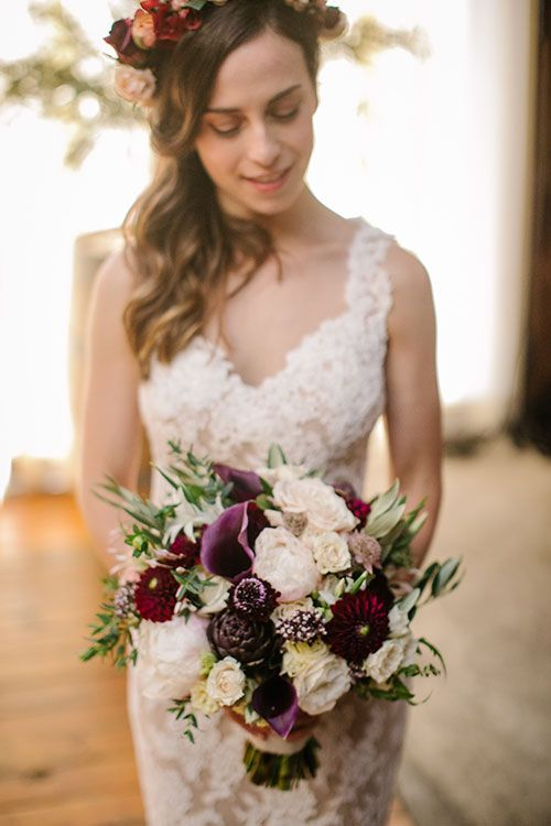 """Wine-Themed Brooklyn Winery Wedding, Wine-Hued Wedding Bouquet """"""""There is something about putting on a Reem Acra dress that is unlike any other experience, I knew it would work well with the style of the space and that I would be able to move, dance, eat, and still feel glamorous!"""""""