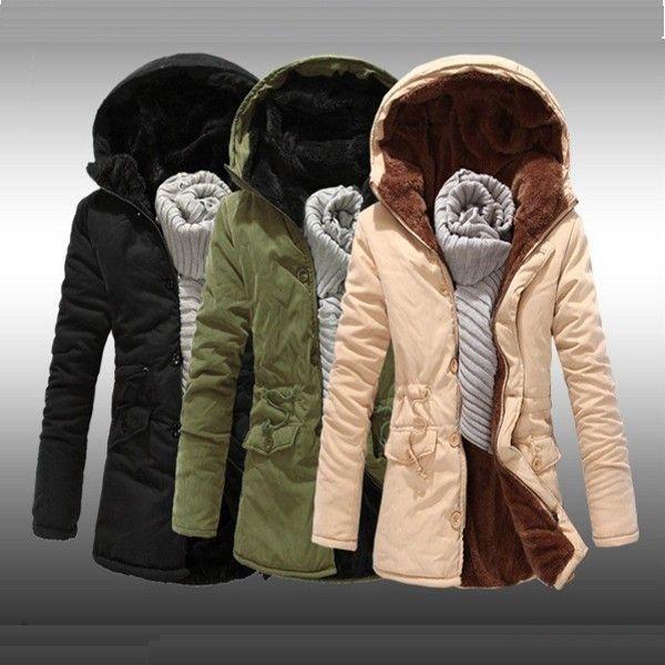$44.98 / #Mens Coats Slim Padded Plus Velvet Long Overcoat #Coat - FREE SHIPPING