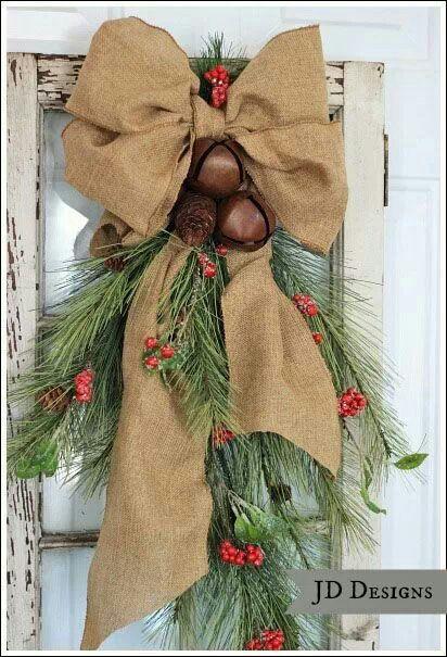 christmas wreath alternative i like the burlap and bells great idea for our back door - Burlap Christmas Door Decorations