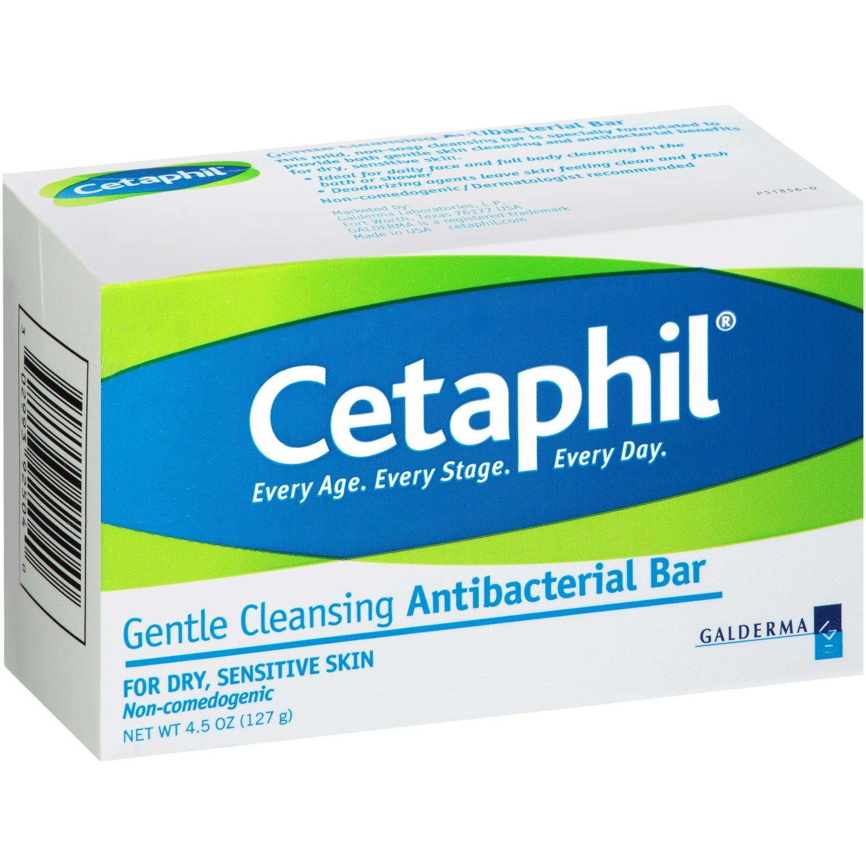 Cetaphil Gentle Cleansing Antibacterial Bar Soap, 4.5