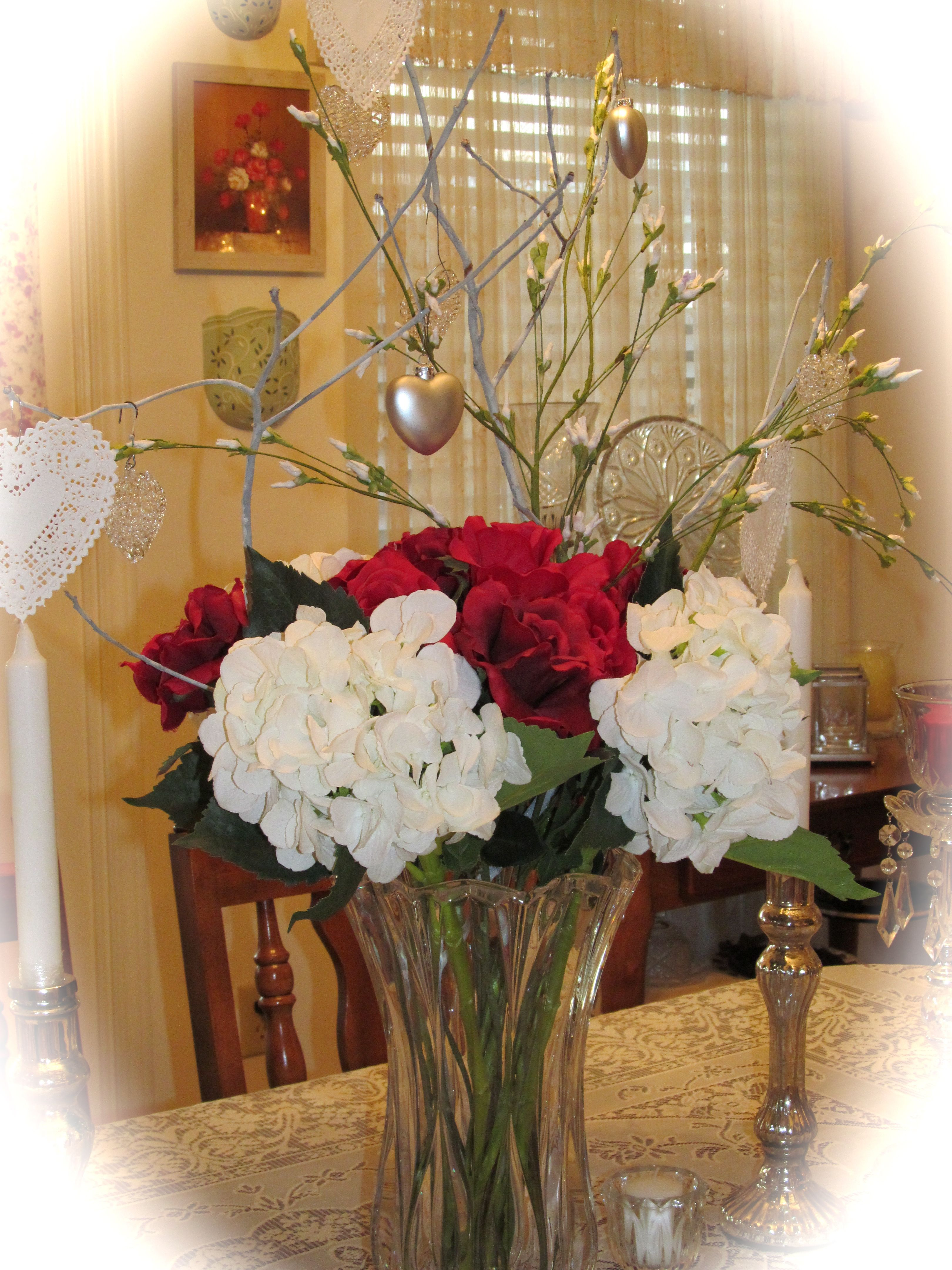 Dining room table valentine arrangement things i made my for Dining room arrangement ideas