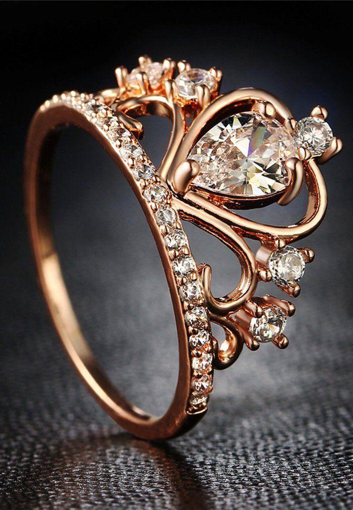 Fancy Princess Crown Ring Dainty Crystal Anniversary