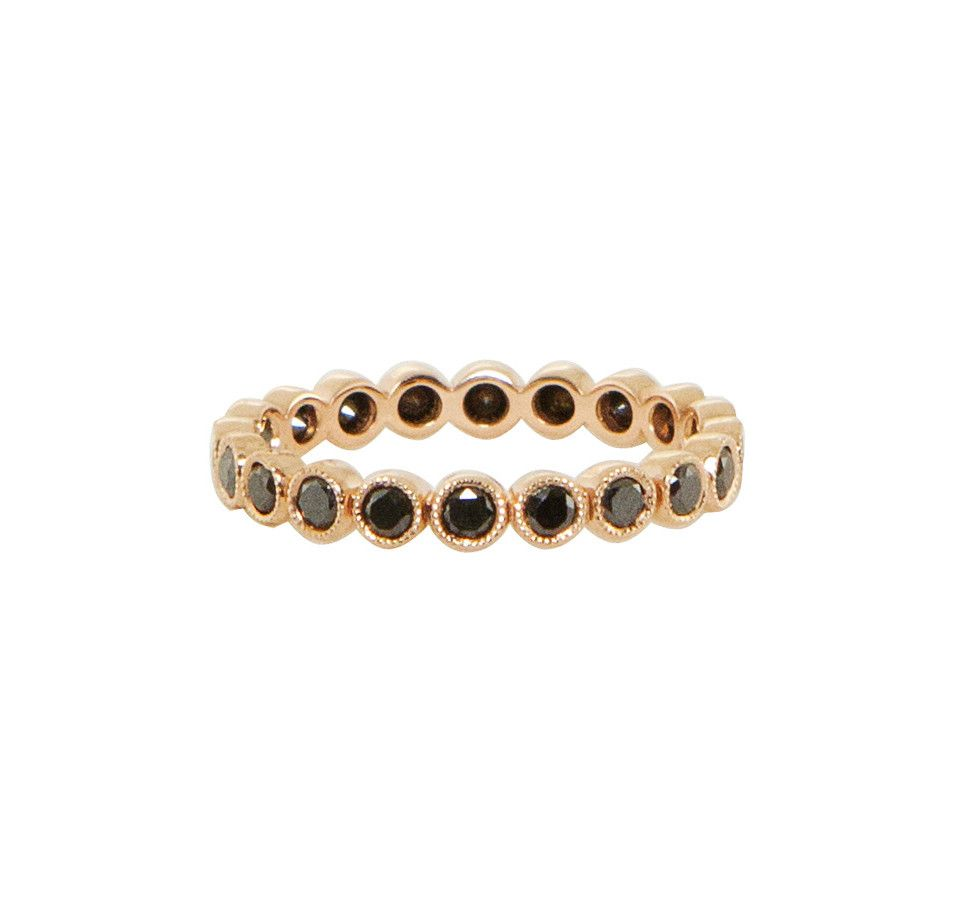 Kt rose gold and black diamond big bezel ballerina ring u luna