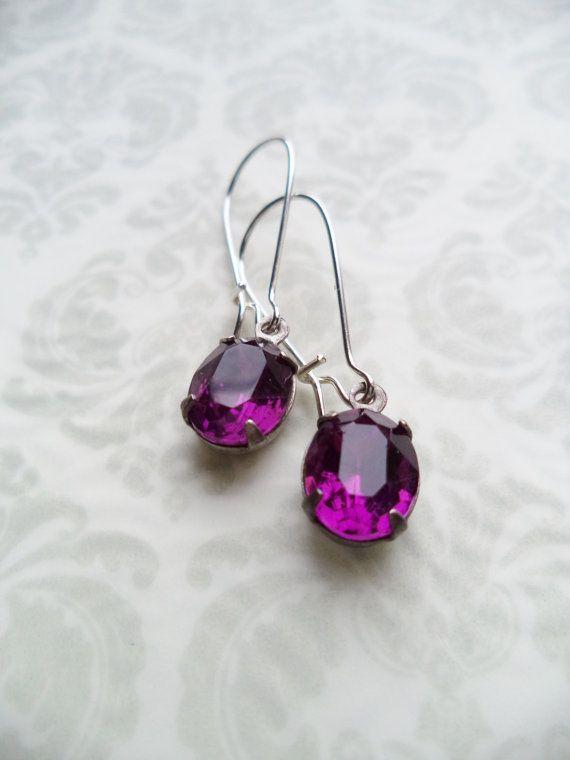 Vintage Earrings Amethyst Purple Glass Dangles by SPARKLESandSASS