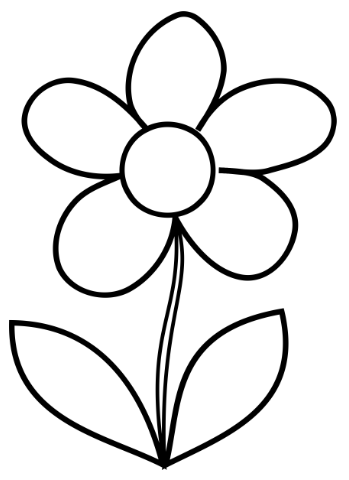 Free Colouring Pages Flowers Printable : Simple flower coloring page cute flower! full size sheets
