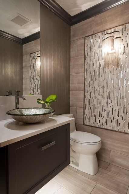 25 Modern Powder Room Design Ideas. love this tile on wall for powder bthroom