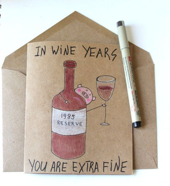 Photo of funny 30th wine birthday card for her – wine  born 1990 card cute