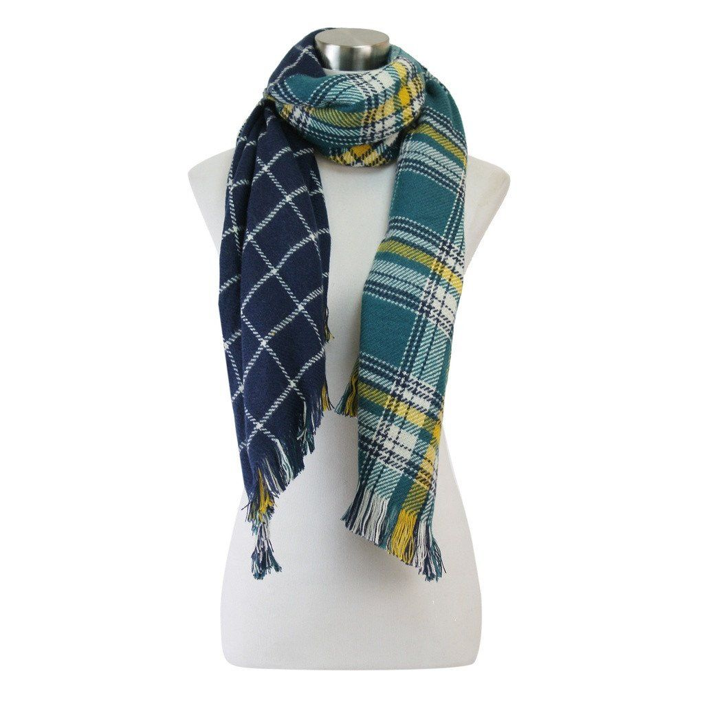 Reversible Check and Plaid Scarf