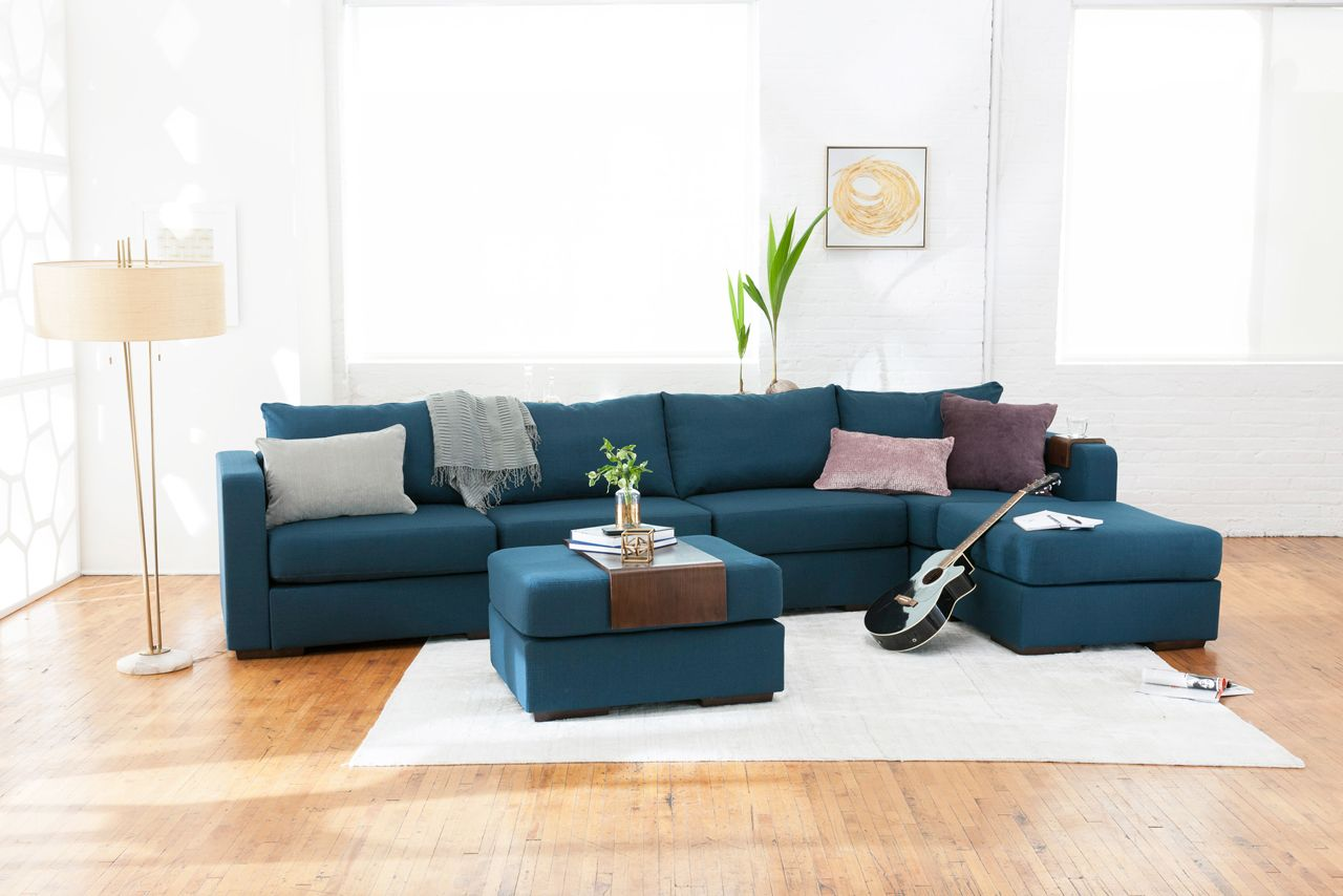 Long Chaise Sectional With Mediterranea Solid Polylinen Covers Family Room Sectional Love Sac Sectional Sectional Sofa