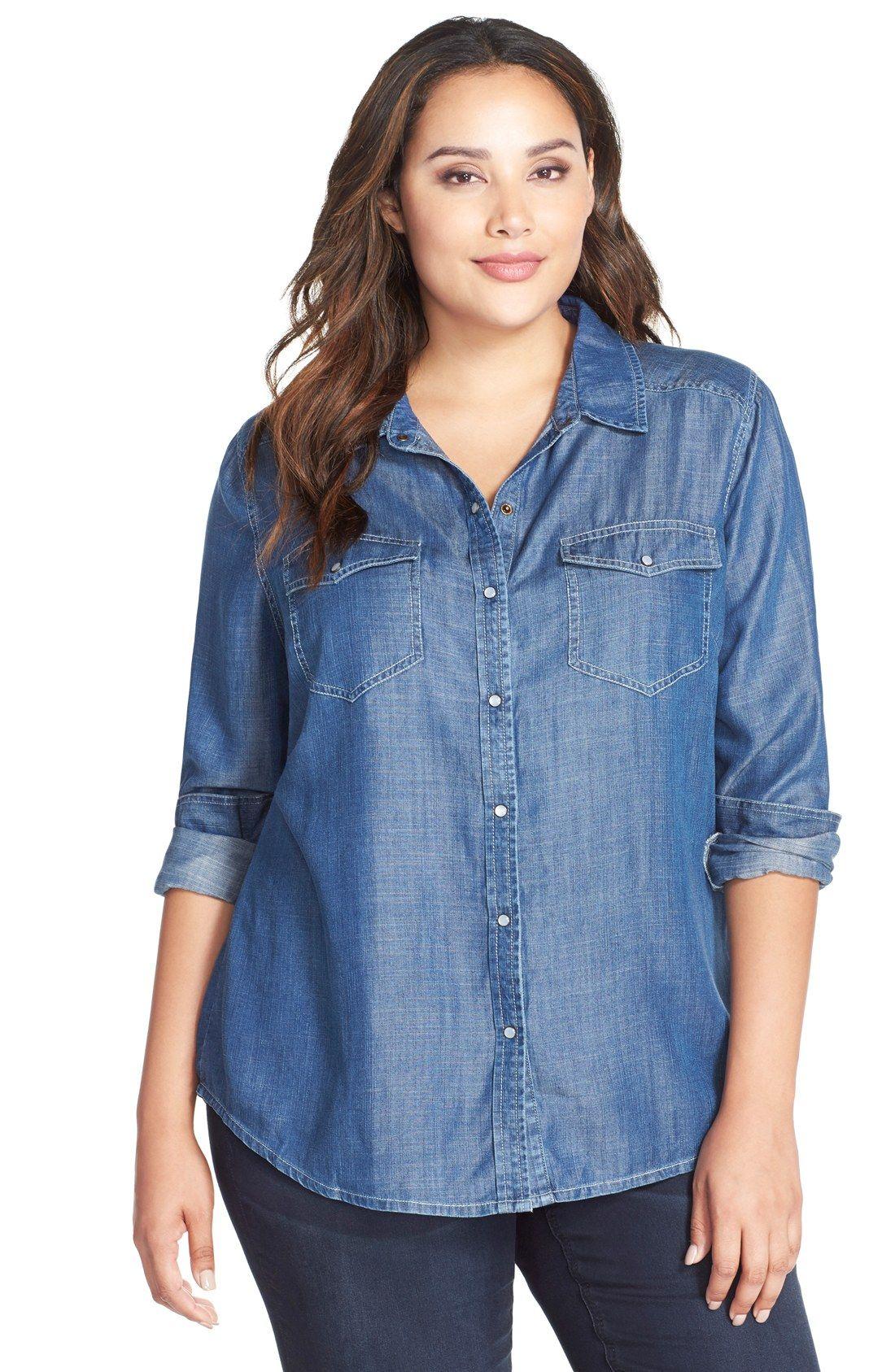 tart 'dixie' chambray denim shirt (plus size) | fashion