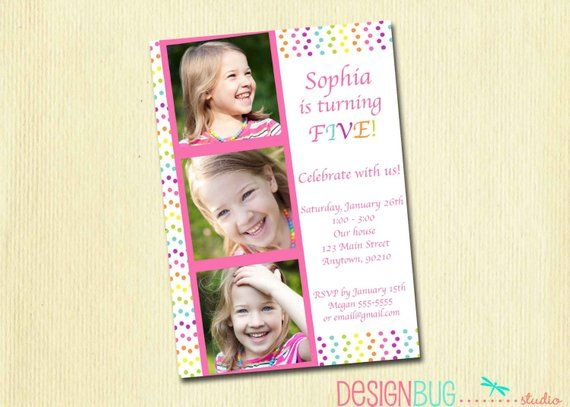 Girls Rainbow Polka Dot Birthday Invitation