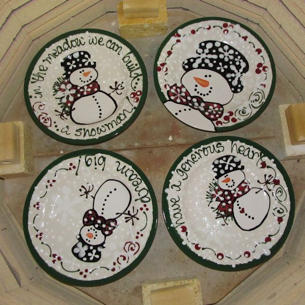 Our newer inch medium round snowman dinner plates in kiln & Lots of fun snowmen! ~ Expressly Yours Studio | Holidays: Christmas ...