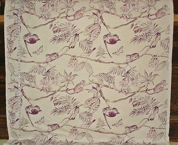 Jungle fabric monkey fabric purple toile by BrickHouseFabrics